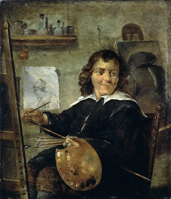 David Teniers the Younger. Painter in his workshop
