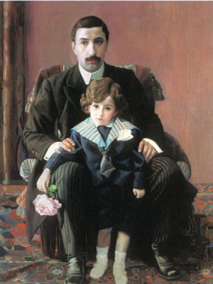 Павел Николаевич Филонов. Портрет Армана Францевича Азибера с сыном