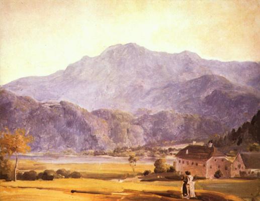 Пейзаж с герцогской конюшней и садом