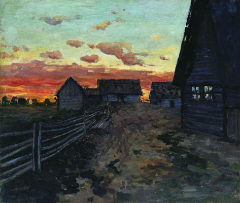 "Isaac Levitan. Hut. After sunset. A sketch for the painting ""the Hut"""