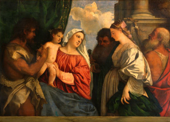 Titian Vecelli. Madonna and child with four saints John the Baptist, Paul, Mary Magdalene and Jerome