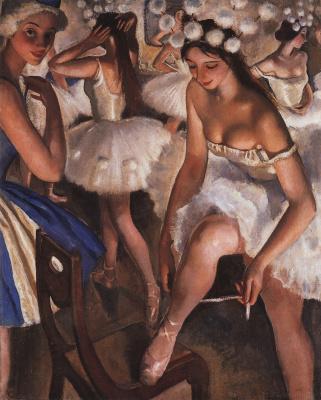Zinaida Serebryakova. Ballet restroom. Snowflakes (Ballet The Nutcracker)