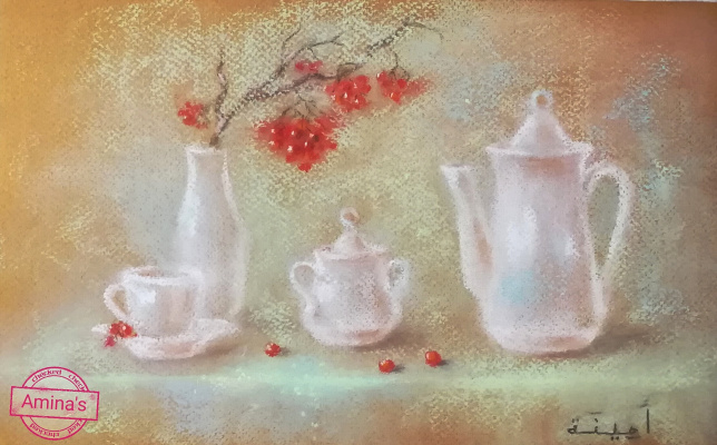 "Amina. Painting by dry pastel ""Winter still life"""