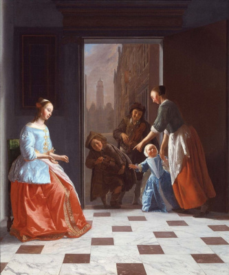 Jacob Lucas Ochterwelt. Street musicians at the door of a rich house