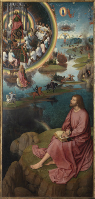 Hans Memling. Triptych of the Mystical betrothal of St. Catherine of Alexandria, right wing: St. John the Evangelist on Patmos