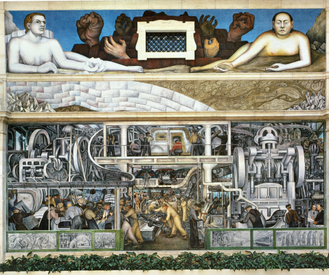 Diego Maria Rivera. Fragment of fresco on the south wall of the Detroit Institute of the Arts