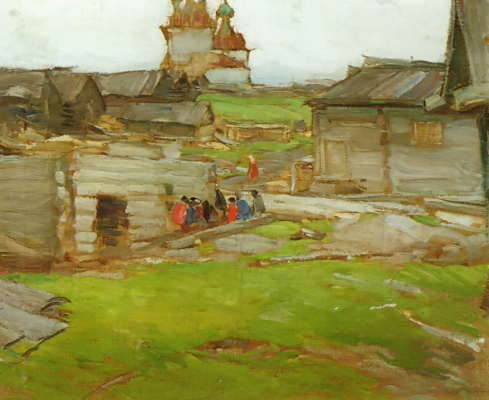 Abram Arkhipov. Landscape (Sketch with the frame)