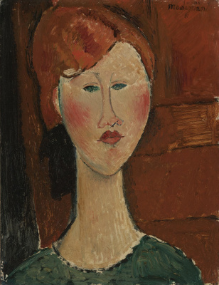 Amedeo Modigliani. Portrait of a woman with red hair