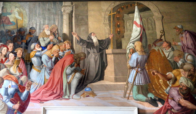 Johann Friedrich Overbeck. The frescoes of the villa Massimo, Tasso's Hall: The Blessing of Godfrey of Bouillon