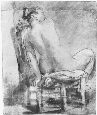 Рембрандт Харменс ван Рейн. Обнажённая натурщица, сидящая спиной