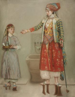 Жан-Этьен Лиотар. Дама в турецком костюме со служанкой в хамаме