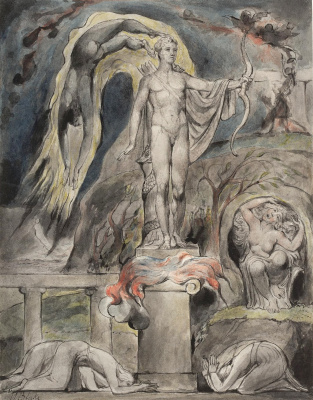 """William Blake. The overthrow of Apollo and the pagan gods. Illustration for the poem by Milton """"On the morning of Christ's Nativity"""""""
