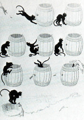 Theophile-Alexander Steinlen. Cats: pictures without words. Cat, mouse and saving barrel