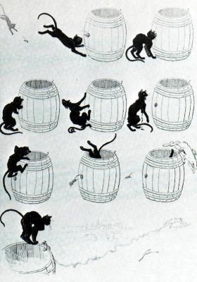 Кошки: картины без слов. Кот, мышь и спасительная бочка