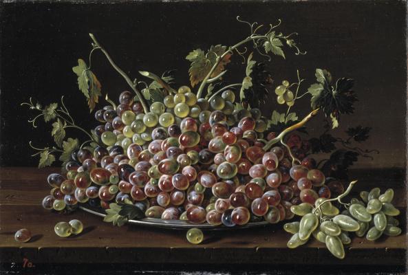 Луис Мелендес. Натюрморт с гроздьями винограда