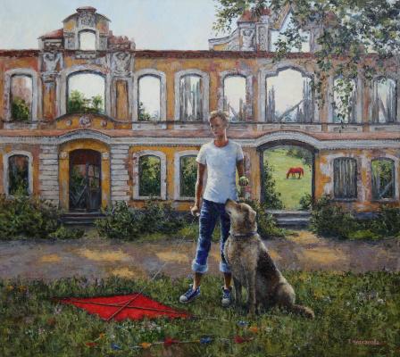 Tatyana Chepkasova. Boy with a dog