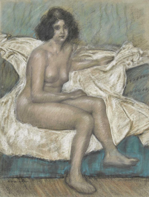 Theophile-Alexander Steinlen. Nude seated on a sofa