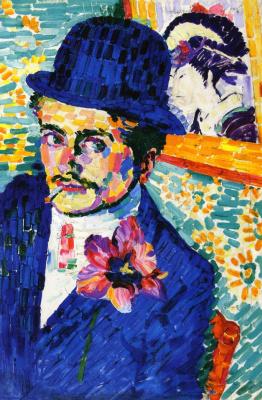 Robert Delaunay. Man with tulips (Portrait of Jean Metzinger)