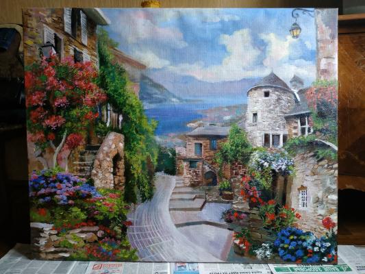 Диана Магомедовна Гаджиева. Картина маслом итальянский пейзаж