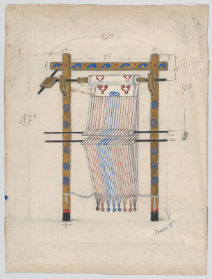 "Sketch the loom for the ballet ""Helen in Sparta"""