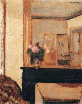 Jean Edouard Vuillard. Vase with pink flowers on the mantelpiece