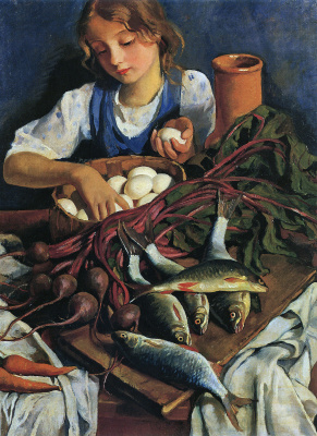 Zinaida Yevgenyevna Serebriakova. In the kitchen. Portrait Of Katya