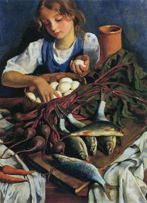 Zinaida Serebryakova. In the kitchen. Portrait Of Katya