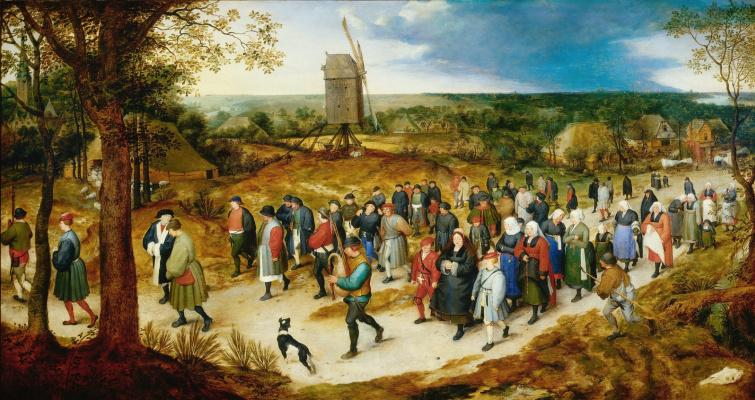Jan Bruegel The Elder. Wedding procession to the church.