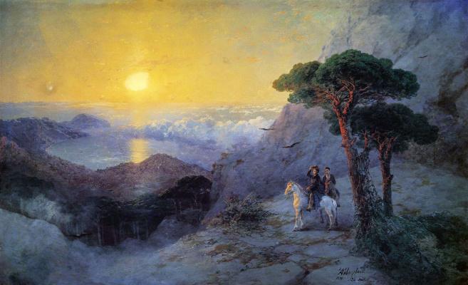 Ivan Aivazovsky. A. S. Pushkin on the top of AI-Petri mountain at sunrise