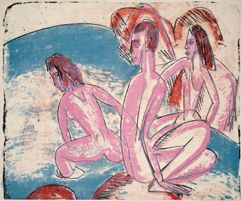 Ernst Ludwig Kirchner. Three bathers on the rocks
