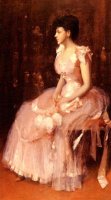 Уильям Меррит Чейз. Портрет дамы в розовом