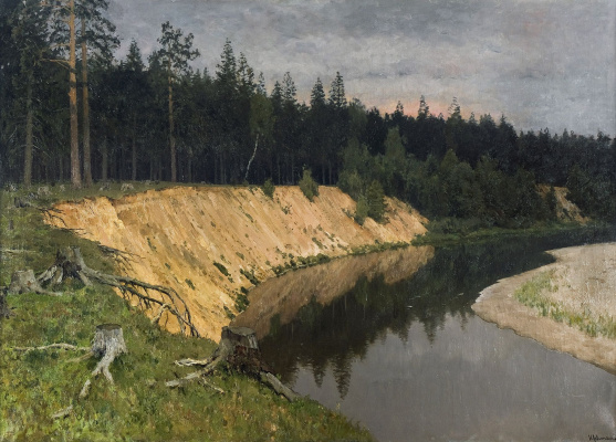 Isaac Levitan. The wooded shore. Twilight