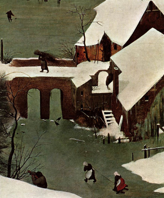 Pieter Bruegel The Elder. Hunters in the snow. Fragment 4. The bridge over the frozen river