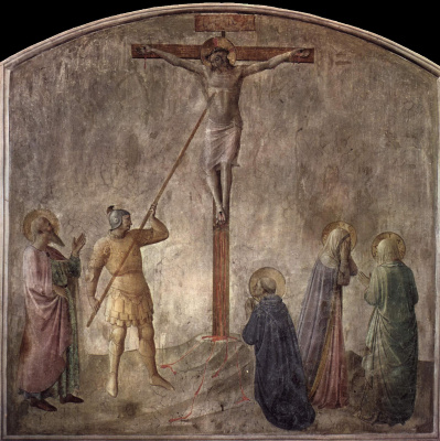 Fra Beato Angelico. Crucifixion A spear strike. Fresco of the Monastery of San Marco, Florence