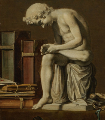 Peter Class. Vanitas. Still-life with a boy pulling out a splinter. Fragment 5. Sculpture of a boy pulling out a thorn