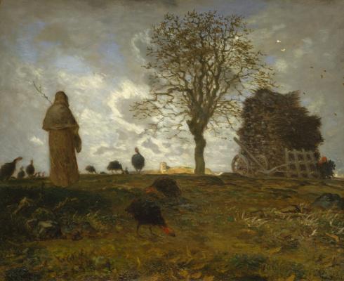 Jean-François Millet. Autumn landscape with grazing turkeys