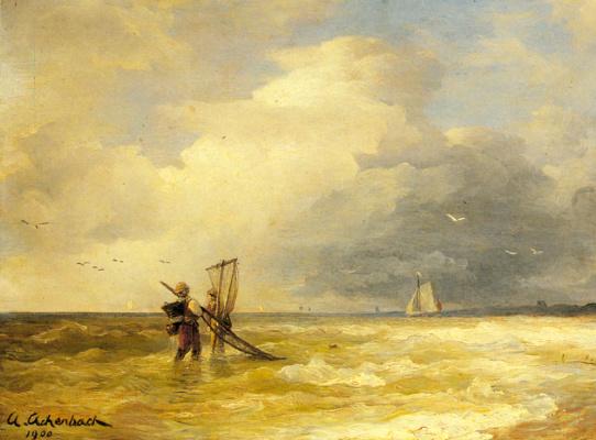 Андреас Ахенбах. Рыбалка у берега