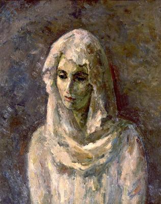 Robert Rafailovich Falk. In a white Shawl (a Portrait of A. Shchekin-Krotova)