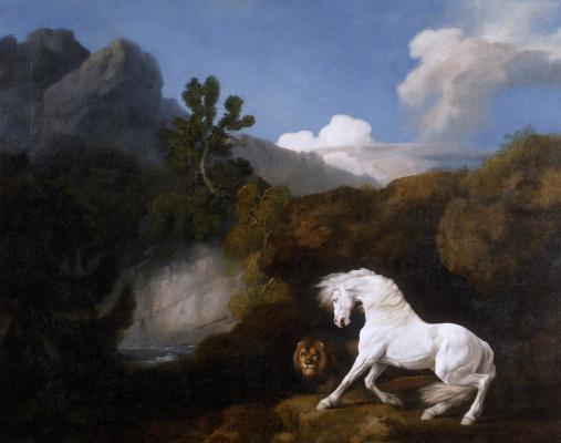 Джордж Стаббс. Лошадь, испугавшаяся льва