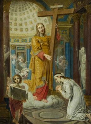 Vladimir Lukich Borovikovsky. The revelation of Jesus Christ from Calvary's cross with praying E. F. Tatarinova