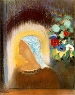 Odilon Redon. Profile and flowers