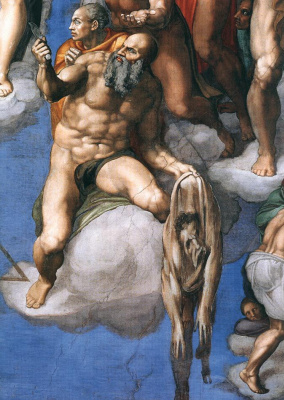 Michelangelo Buonarroti. Judgment. Saint Bartholomew