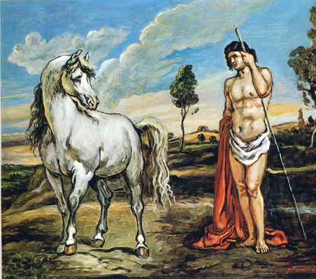 Giorgio de Chirico. Young man and white horse
