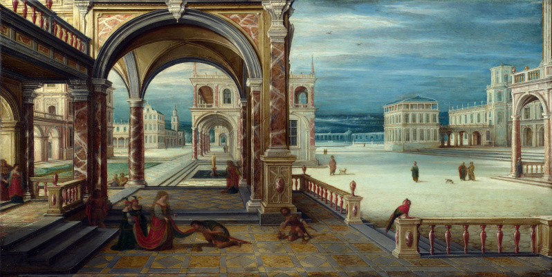 Van Stevenucck th Yeongep Hendrik. Courtyard of a Renaissance Palace