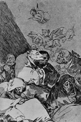 """Francisco Goya. A series of """"Caprichos"""", page 46: a severe reprimand"""