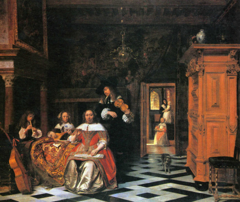 Pieter de Hooch. Playing music family