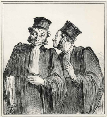 "Honore Daumier. ""You lost, although it was supposed to win.; - Well, X won, and I earned 2000 francs."""