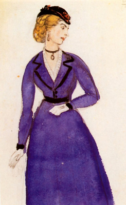 "Mstislav Valerianovich Dobuzhinsky. Costume design Lisa for the play ""Nikolai Stavrogin"""