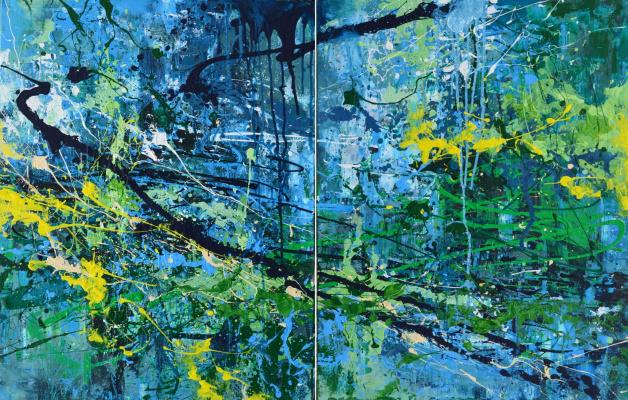 "Tanya Vasilenko. ""Abstract 39"". Diptych. Acrylic on canvas. 39 Abstract, diptych, both parts. Acrylic on Canvas. 2016."