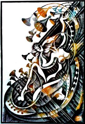 "Vladimir Kataev. ""Silence 3"", linocut, 65 X 45 cm, 2013"